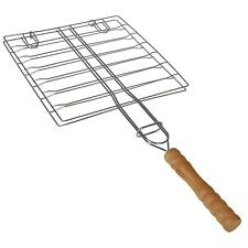 More details for chrome plated wire mesh bbq grill with wooden handle fish meat barbecue camping