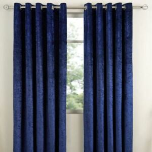 READY MADE CRUSHED VELVET LINED RINGTOP CURTAINS - INDIGO/BLUE
