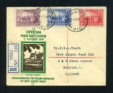 Australia 1937 Nsw Sesqui-Centenary Official Fdc Wodonga Vic cds
