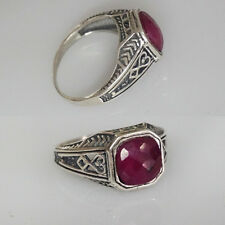 Ring Red Ruby Sterling Silver 925 Rare Antique Style, Perfect Christmas Gift