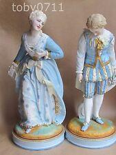 Vion & Baury Francia PORCELLANA BISCUIT GRANDE COPPIA DI FIGURE Boy & Girl (Ref2099)