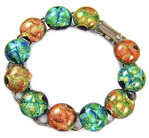 "DICHROIC Link Bracelet Yellow Green Orange Gold Polka Dot Fused Glass 7.5"" 12mm"