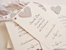 Set of 10 Personalised Handmade Glitter Heart Wedding Save the Date Tags