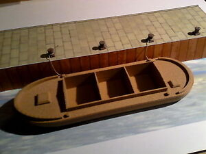 1/76 scale  Canal Barge  with Mooring Bollards  3 D printed  requires painting