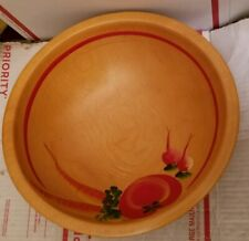 Vtg Wooden Bowl w hand painted vegetables 3 Ball Feet