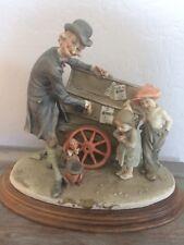 Giuseppe Armani Organ Grinder Man, Girl, Boy, Dachshund Dog Florence Figurine