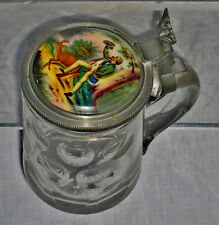 ANTIQUE GERMAN  BEER  STEIN CRYSTAL w/ HAND PAINTED LID, 1/2 L. 19 cent.
