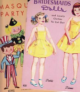 Lot of 2 Vintage Lowe Paper Doll Books Bridesmaids Dolls & Masquerade Unused