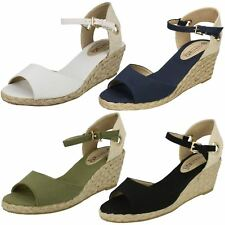 Spot On Ladies Ankle Buckle Wedged Sandals