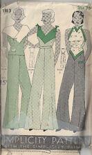 1930s Vintage Sewing Pattern B36 BLOUSE & PAJAME PANTS (NOT pyjamas) (1798R)