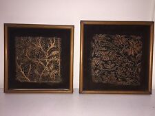 Pair Antique Copper Textile Fabric Paper Printer Block Stamp 2 Framed Floral Lot