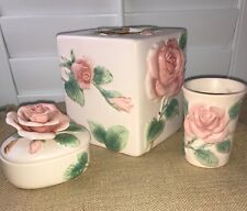 Vintage 1987 Fitz & Floyd Pink Rose Ceramic Bathroom Cup, Tissue Cover, Box