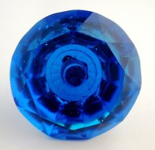JAWDROPPING LARGE COBALT BLUE OLDER CRYSTAL KNOBS HANDLES PULLS HAND CUT