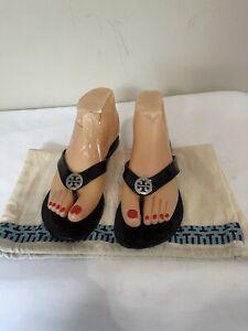TORY BURCH  Sandals Black Thora Thong Jelly Flip Flops  Women's 6