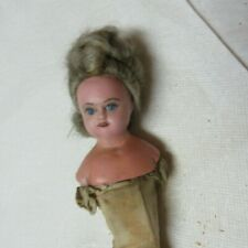 """Antique 1899 Poured Wax Doll Head & Shouder 3 """" with pierced ears"""