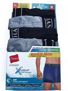"Hanes® Men's ULTIMATE X-TEMP AIR 4-Pack BOXER BRIEFS ""FreshIQ &TAGLESS & COOL"""