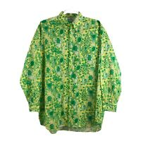 Lilly Pulitzer Men's Size L Green Frog Print 60's 70's Collared Shirt Vtg  FLAW