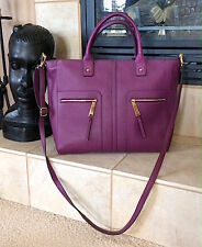 Tommy Hilfiger Purple Plum Genuine Leather Convertible Tote NWT MSRP: 198$