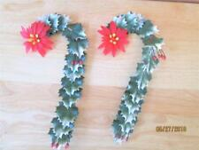 2 VINTAGE RED POINSETTIA FLOWERS WITH HOLLY & BERRIES CHRISTMAS CANES