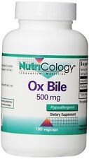 Nutricology Ox Bile, 500 mg,  100 Vegetarian Capsules, New, Free Shipping