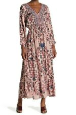 NWT Angie Pink Floral Long Sleeve Embroidered Drawstring Maxi Dress Boho S/M/L