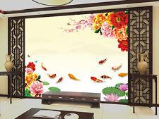 3D Flowers Pond Carp 884 Wallpaper Mural Paper Wall Print Wallpaper Murals UK