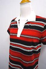 NEW! IZOD G-FLEX red white collar golf polo shirt sz M womens S/S#407 c108