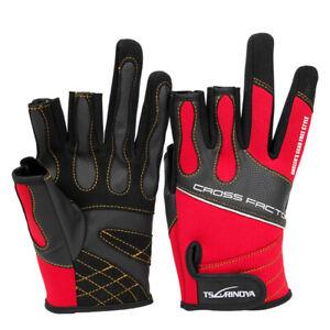 Breathable Neoprene Fishing Gloves 3 Cut Anti Slip Waterproof Red Men&Women Ride