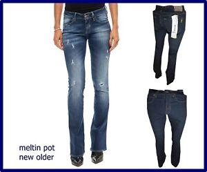 jeans da donna meltin pot vita bassa a zampa elasticizzati bootcut vintage 27 28