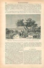 Âne Village de Bugeaud Porte de Bab-el-Oued Alger Algérie GRAVURE OLD PRINT 1877