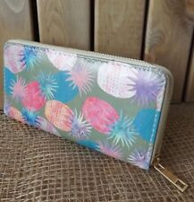 Womens Girls Fully Lined Leatherette Zip Purse Multicolour Bright Pineapple