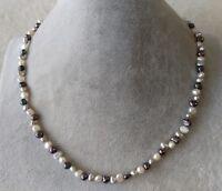 4-5 mm Weiß Grau & schwarz Baroque Süßwasser Perle Halskette 19 inches