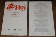 "Jilly's Frank Sinatra ""My Favorite Bistro"" Chicago Menu Rush St. /1960s Rat Pack"