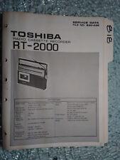 Toshiba RT-2000 service manual original repair book stereo radio tape deck