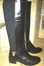 Michael Kors Hamilton Black Leather Stretch Boots Gold Tone Charm Size 5 1/2