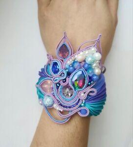Blue lilac purple Bead Embroidered Shibori Silk Soutache bracelet Fabric Jewelry