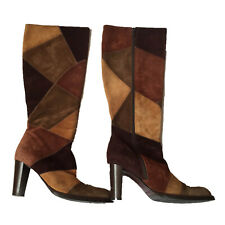 ❤ RUSSELL & BROMLEY Size 7 Ladies Brown Tan Made In Italy Patchwork Suede Boots