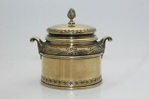 RARE BEAUTIFUL ANTIQUE FRENCH SOLID SILVER GILT LIDDED SUGAR BOWL