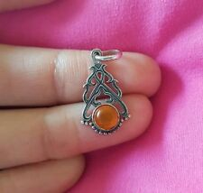 Pendant Sterling Silver Amber Vintage & Antique Jewellery