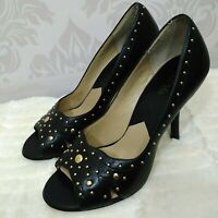 Michael Kors Black Leather Peep Toe Heels Gold Studded Womens Size 9.5 Pumps