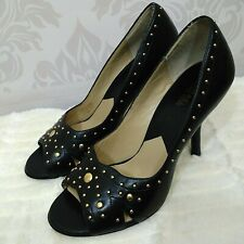 Michael Kors Black Leather Peep Toe Heels Gold Studded Womens Size 9.5 Pumps