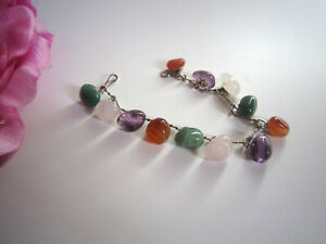Natural gemstones amethyst, rose quartz, agate chain bracelet. Beautiful.