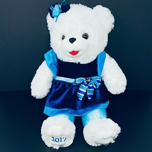 "2017 Snowflake Teddy Bear Holiday Time Walmart Dan Dee White Blue Dress 22"""