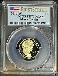 2016-W PCGS PR70 DCAM Mark Twain Commemorative $5 GOLD Coin with COA and OGP