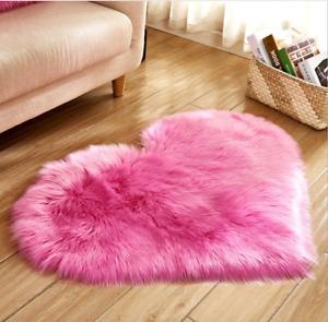 Soft Modern Faux Sheepskin Shaggy Area Rugs Children Play Carpet Heart-shaped