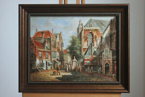 Oil on board framed painting famous paintings landscape old building street