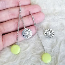 Beads Dangle Drop Hook Earrings 802400 Womens Uneven Chains Totem Plate Yellow