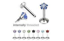 8 lot INTERNALLY THREADED Star Gem MONROE /LABRET LIP CHIN Ring Piercing Jewelry