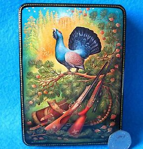 Russian GICLEE Lacquer box Trinket hunting Capercaillie Grouse Cock of Wood GIFT