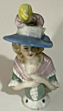 Antique Pin Cushion Half-Doll German Lady Doll With A Feathered Hat & Pink Shaw